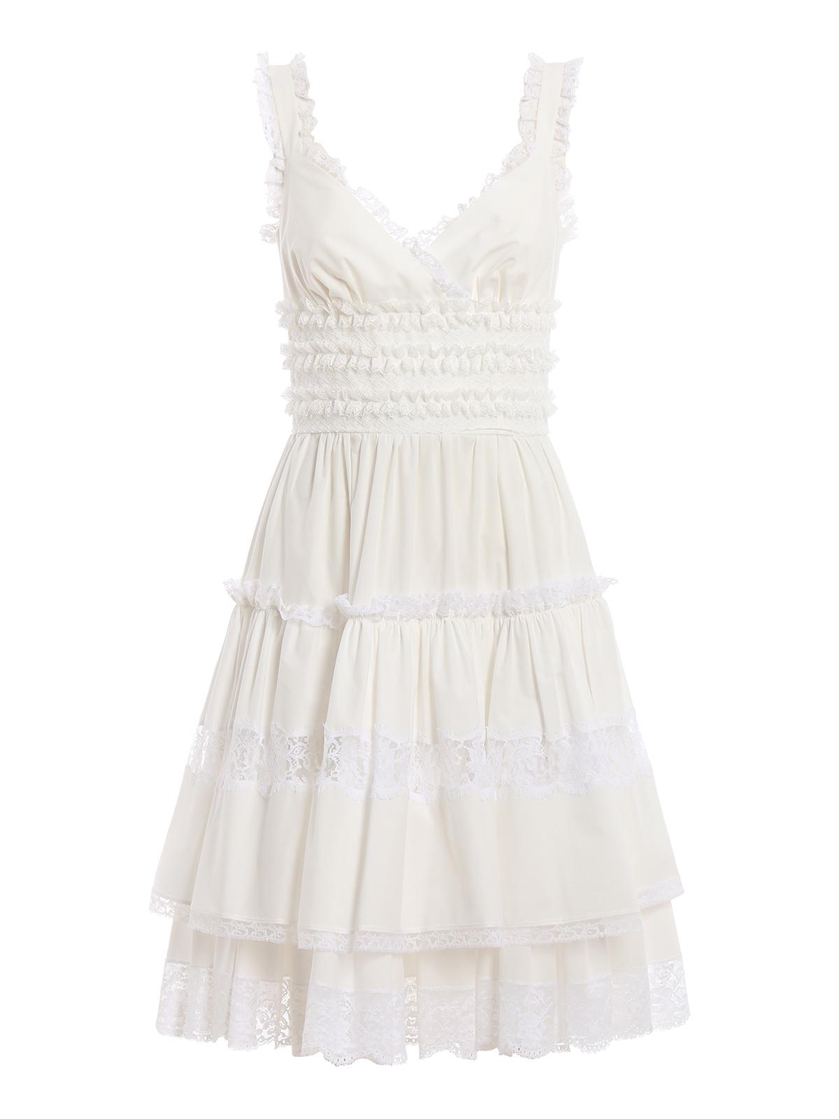 091393ce1b5ff DOLCE & GABBANA: knee length dresses - Lace embellished white poplin slip  dress