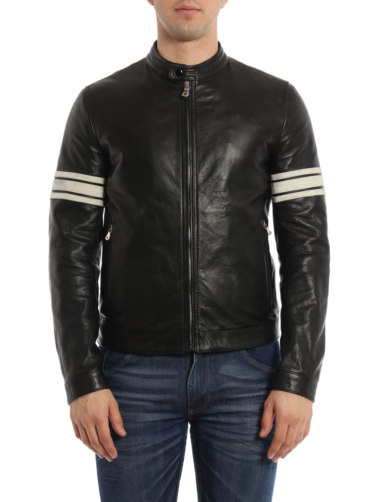 Striped sleeves leather jacket by Dolce & Gabbana ...