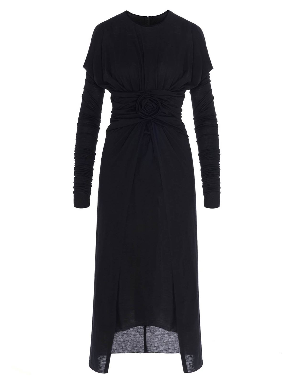 DOLCE & GABBANA DRAPED DRESS WITH ROSE IN BLACK