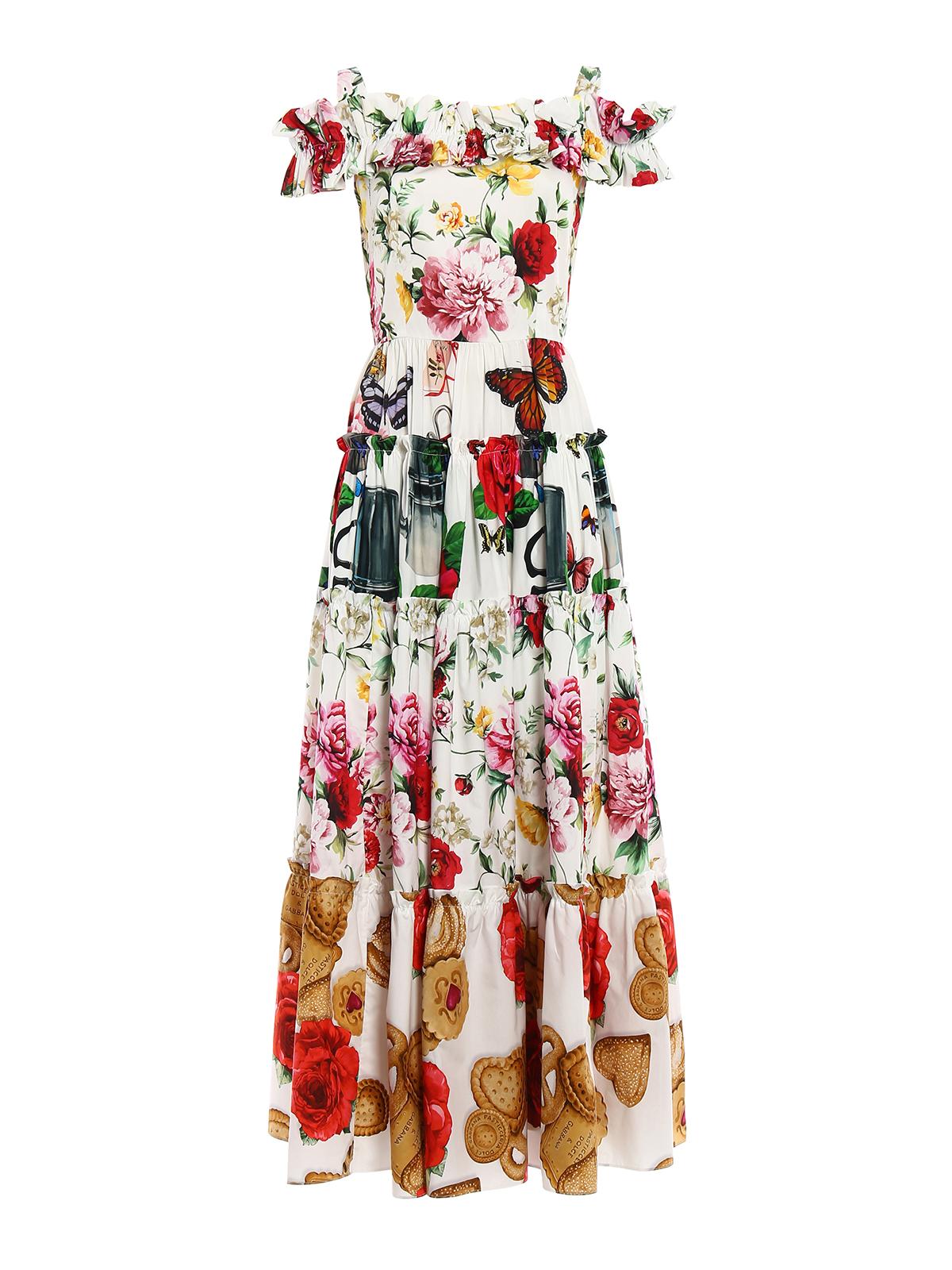 new style f9561 29b78 Dolce & Gabbana - Abito in cotone floreale con balze - abiti ...