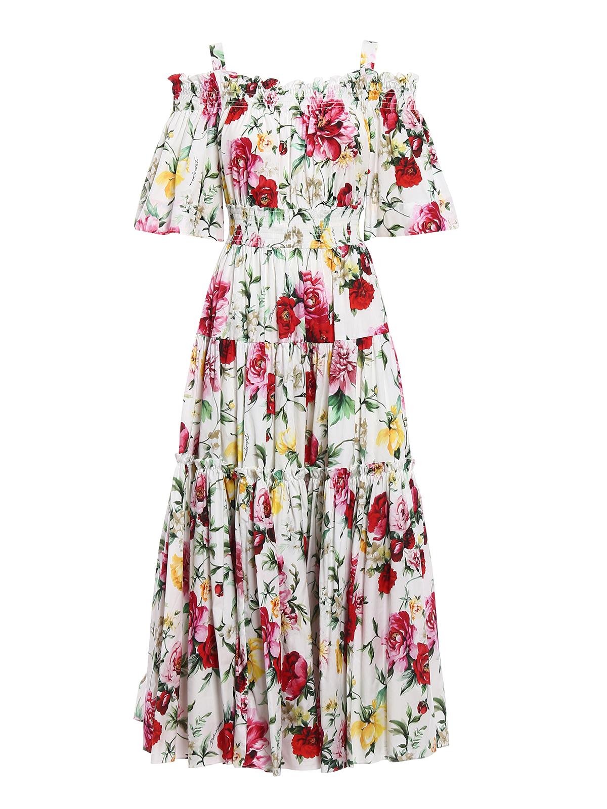 buy online 11008 94f00 Dolce & Gabbana - Abito lungo in cotone con rose - abiti ...