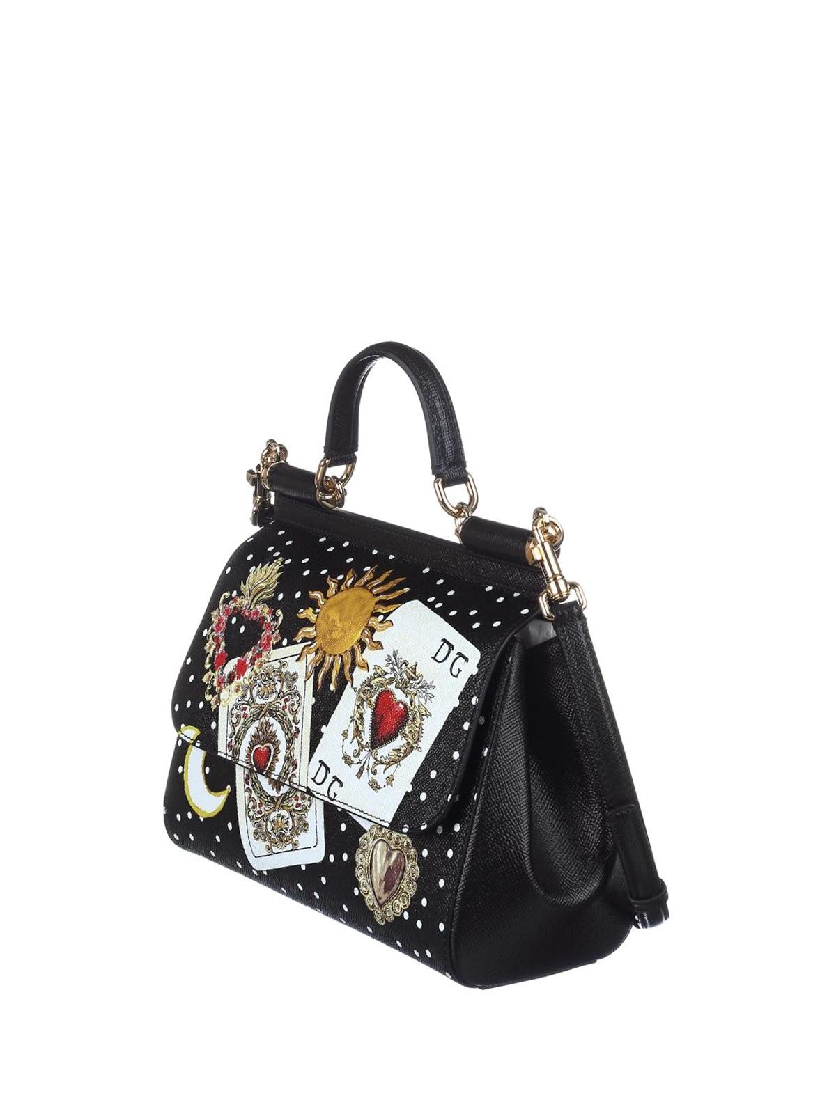 DOLCE   GABBANA  bowling bags online - Sicily dauphine leather medium bag 6c70c43a6df30