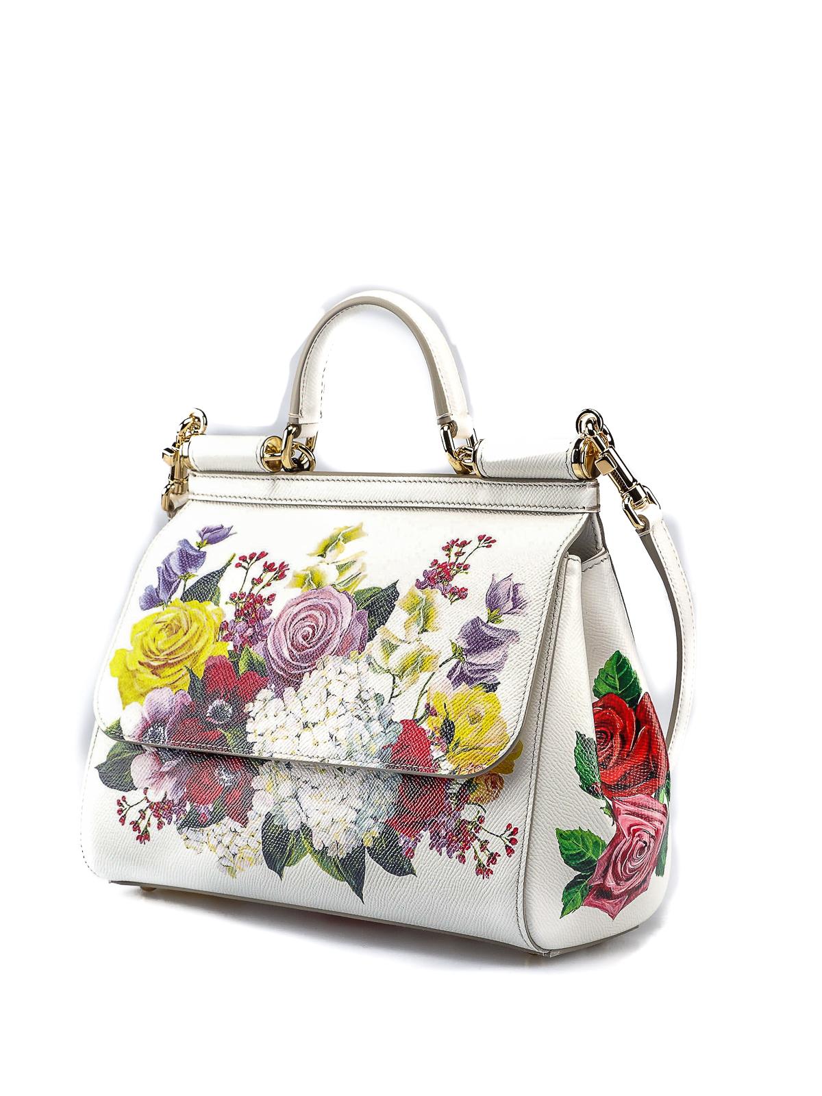 32e371a522d DOLCE & GABBANA: bowling bags online - Sicily medium floral print leather  bag