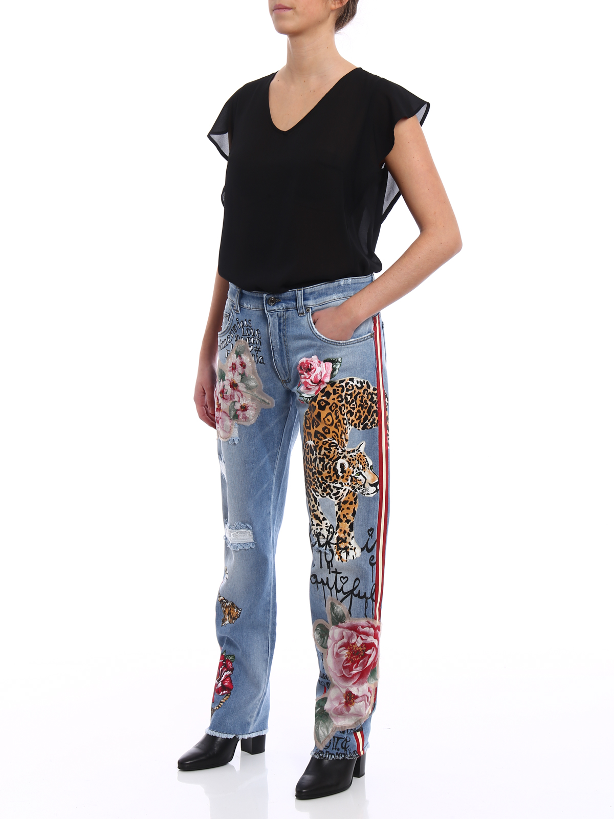 DOLCE   GABBANA  Boyfriend online - Jeans with prints and embroideries bcc69b85d18