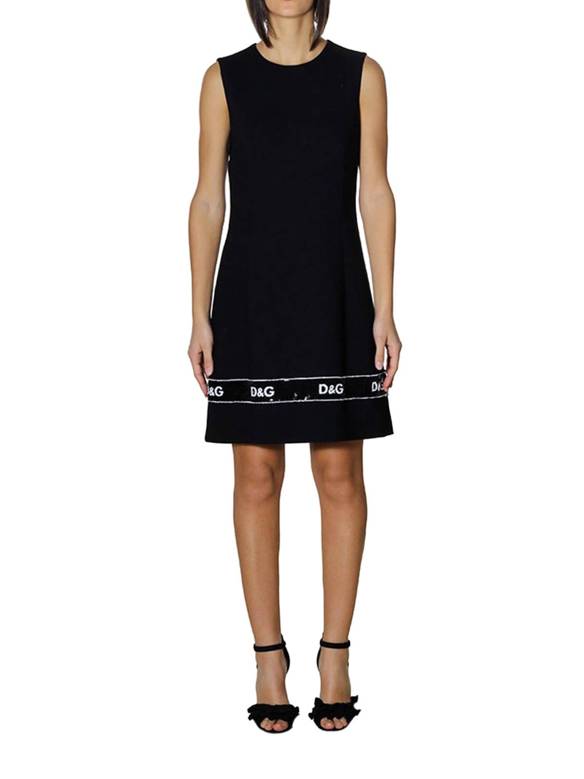 designer fashion b9e11 a9110 Dolce & Gabbana - Tubino nero in crepe con paillettes ...