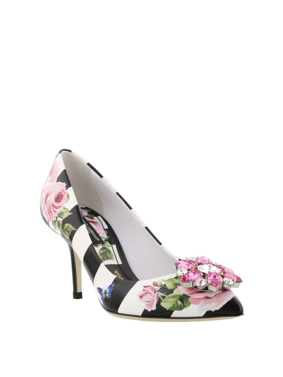 fb2e967ee242 DOLCE   GABBANA  court shoes online - Rose print striped leather pumps