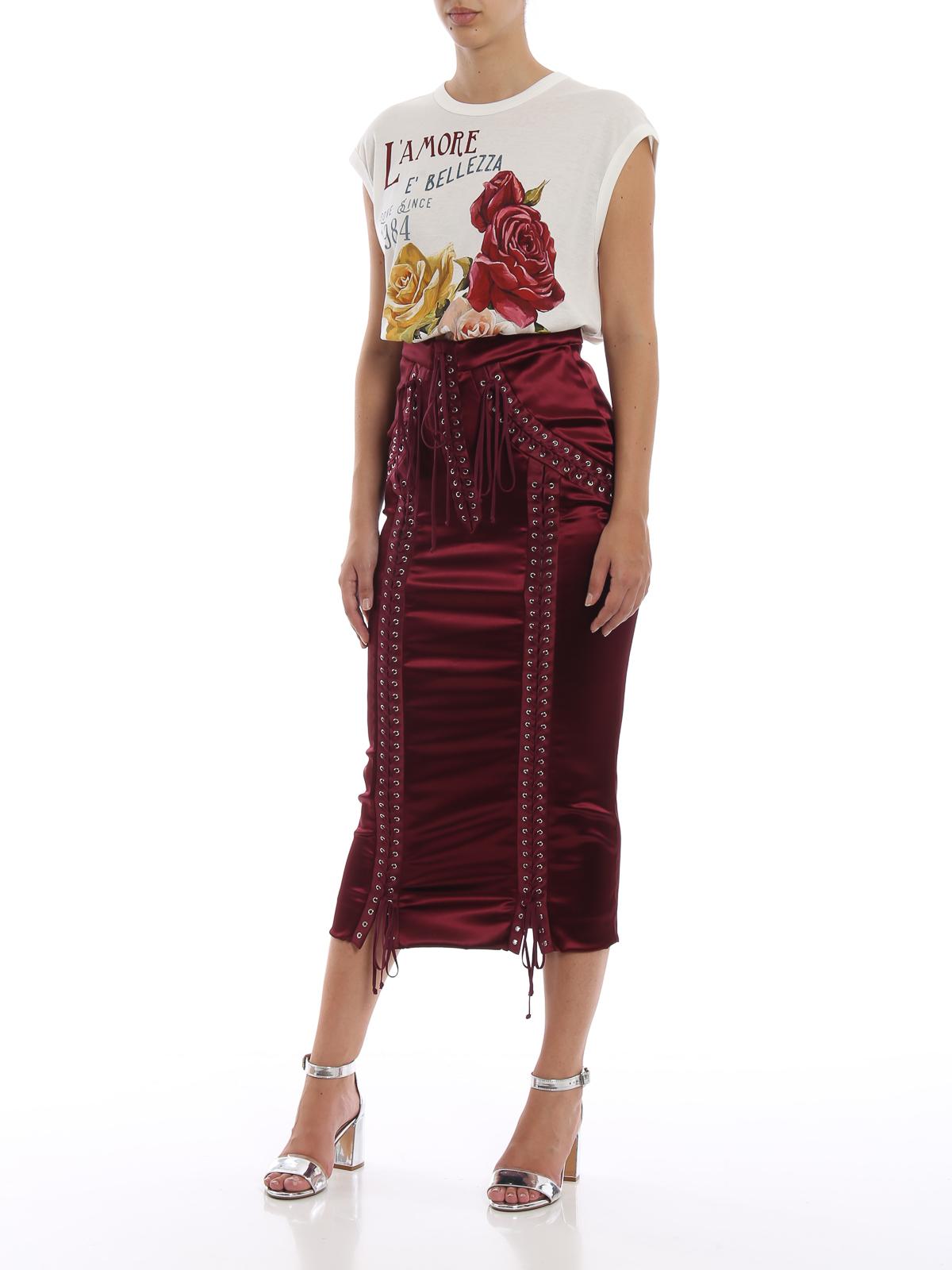 6a739a34674 DOLCE   GABBANA  Knee length skirts   Midi online - Corset style satin midi  skirt