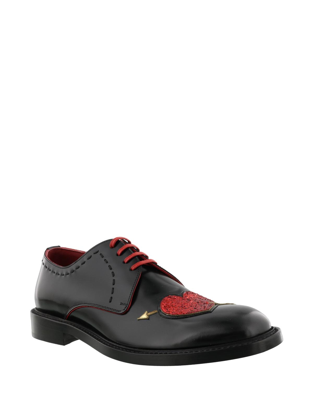 Glitter heart patch Derby shoes