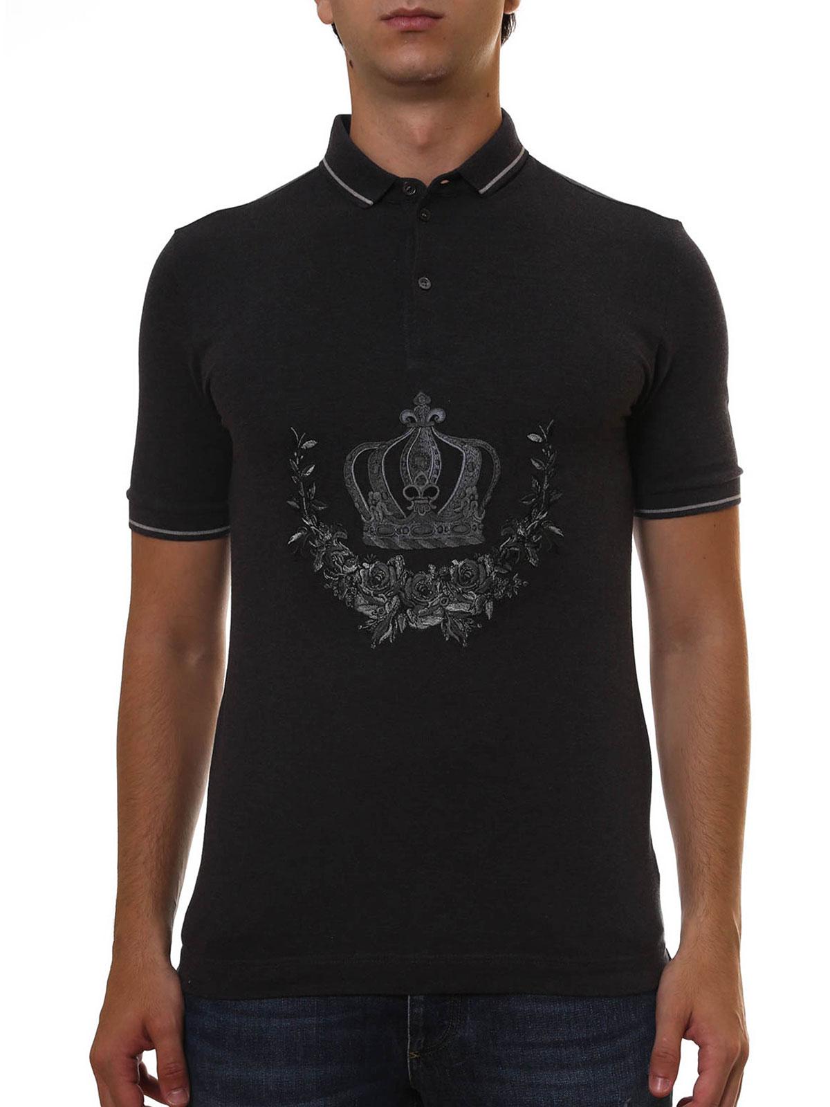 Dolce Gabbana Embroidered Cotton Polo Poloshirts