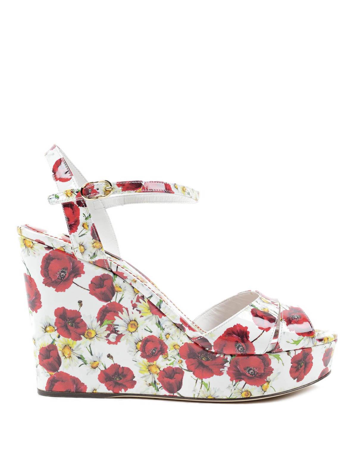 DOLCE   GABBANA  sandali online - Sandalo con zeppa e stampa floreale a3c5f77a67d