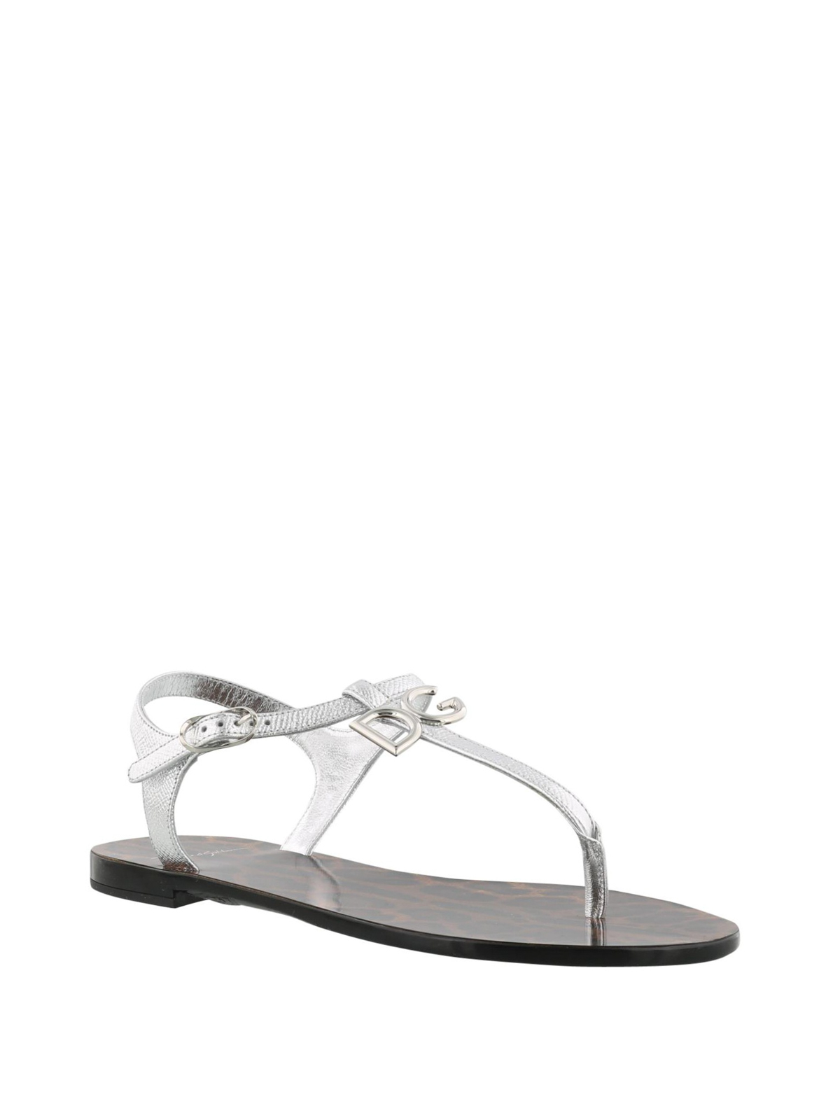 d9b5536cc85bb8 DOLCE   GABBANA  sandals online - Metallic leather thong flat sandals