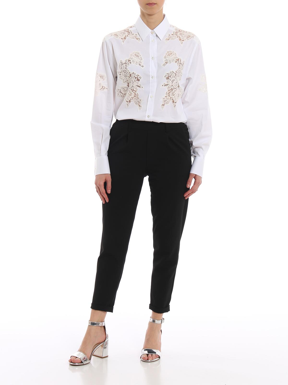 e Gabbana bianca amp; Camicia Dolce pizzo in cotone camicie qUvYtw