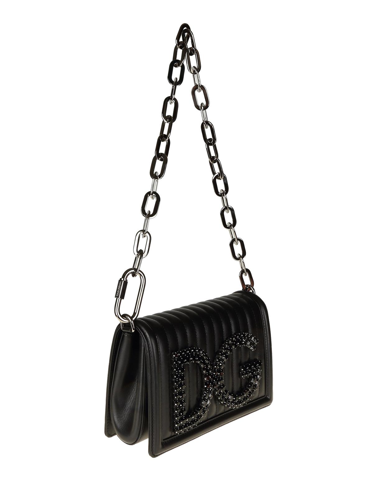 60314963f0d1 DOLCE & GABBANA: shoulder bags online - DG Girls smoky crystal quilted  leather bag