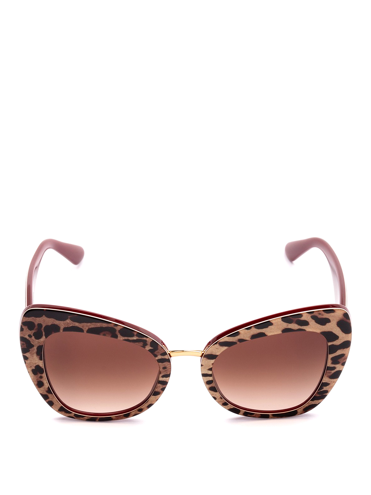 d41edd6a7216 DOLCE & GABBANA: sunglasses online - Animal print acetate cat eye sunglasses