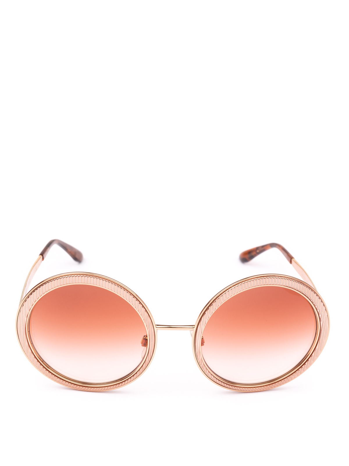 b64f79109dcc DOLCE & GABBANA: sunglasses online - Engraved rose gold metal round  sunglasses