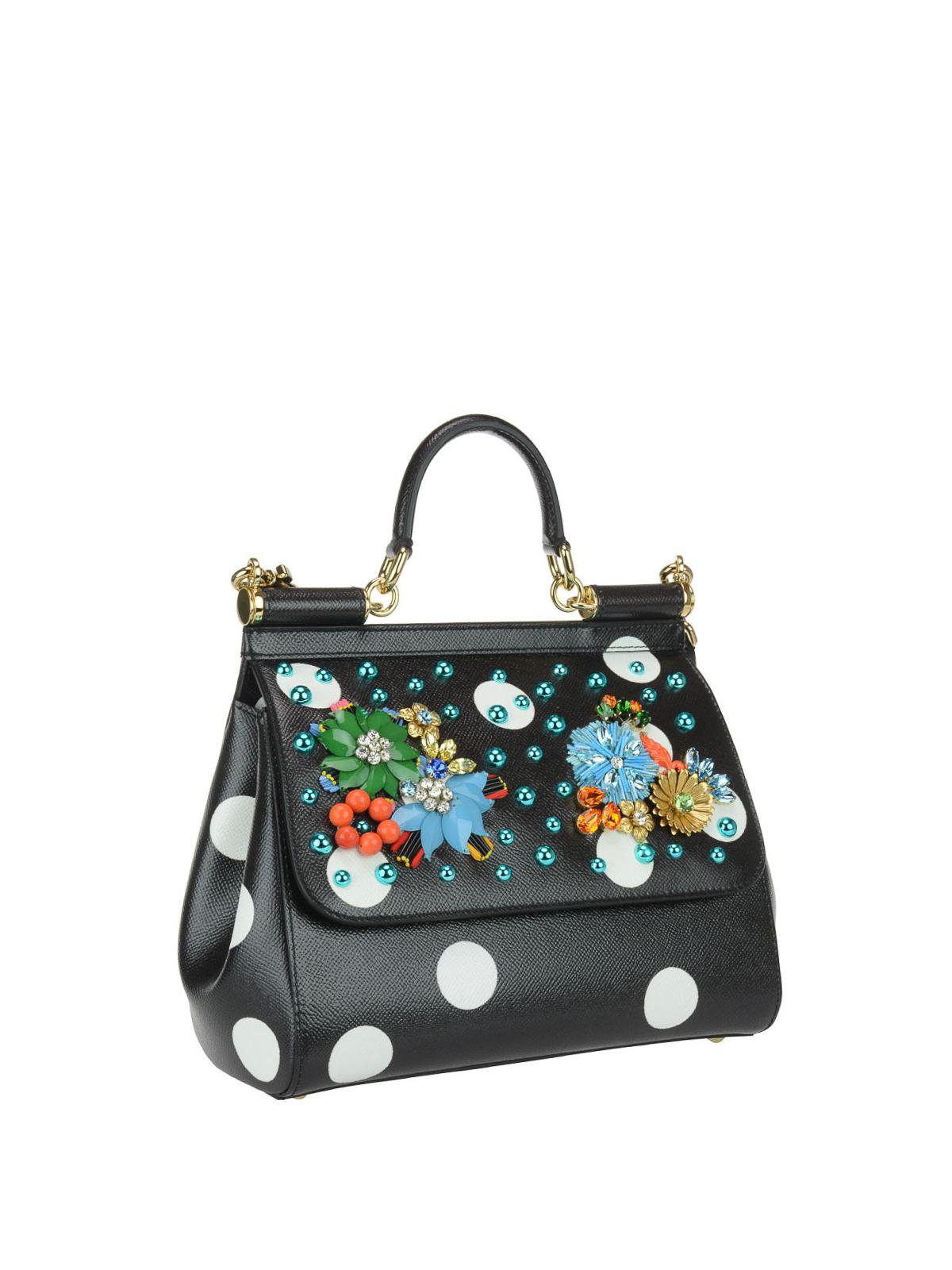 DOLCE   GABBANA  totes bags online - Floral polka dot Sicily Medium bag ee8ac1adc500b