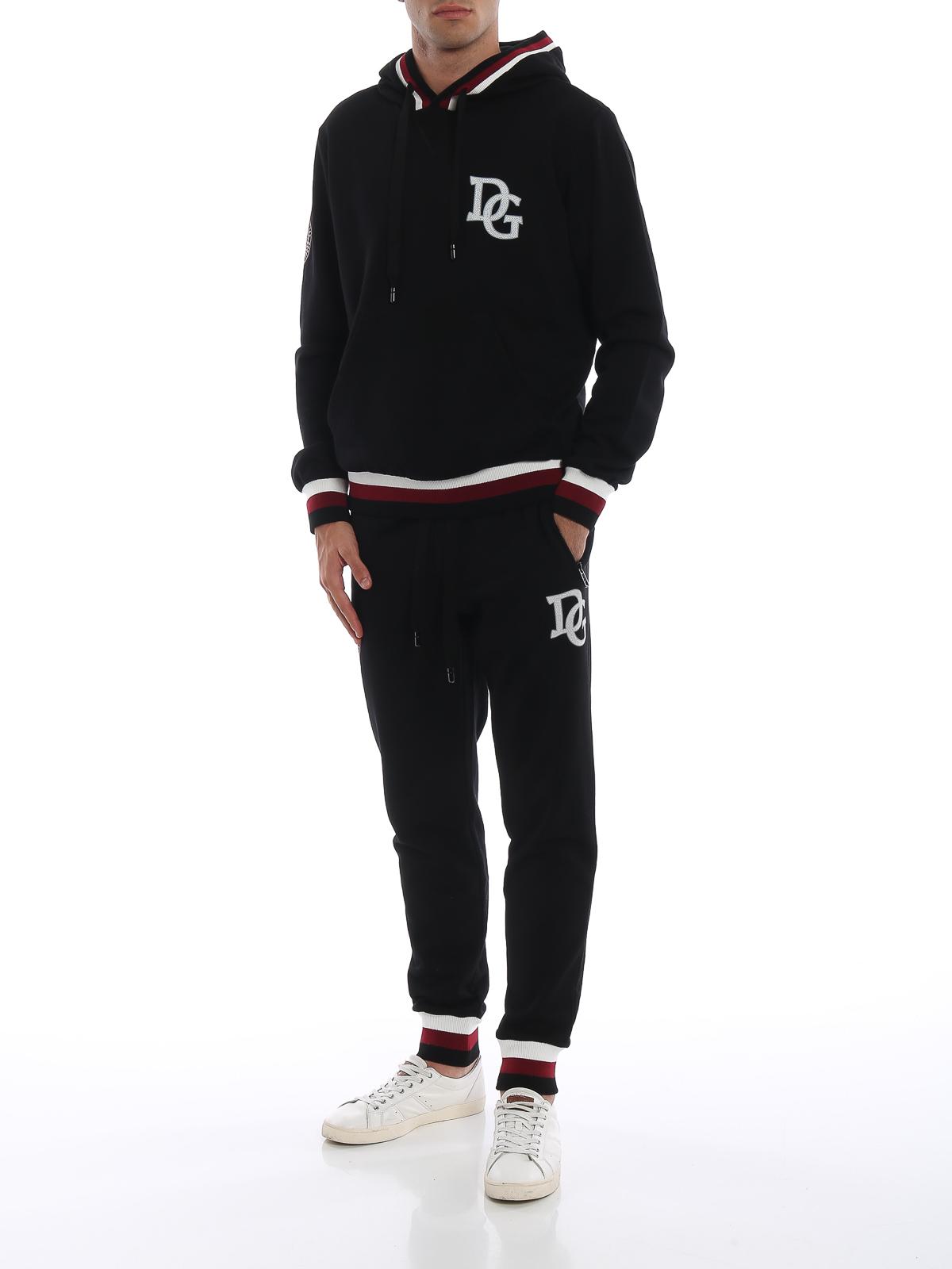 DOLCE   GABBANA  pantaloni sport online - Pantaloni neri da tuta con logo DG 2066cfa7ece