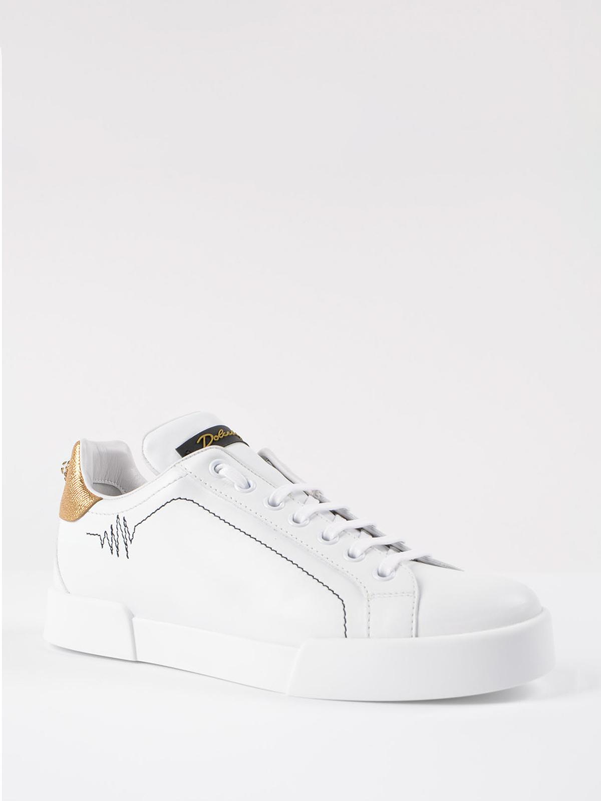 Dolce & Gabbana Sneaker in pelle con maxi perla sneakers