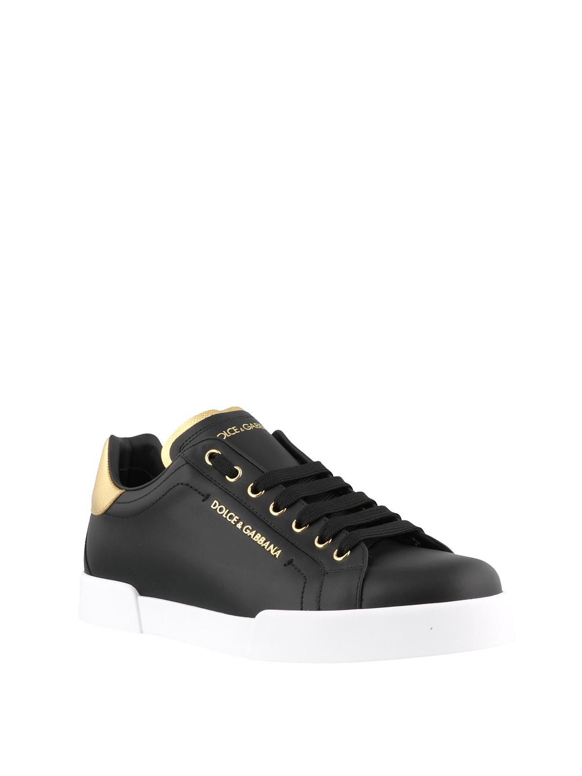 Portofino black and gold sneakers
