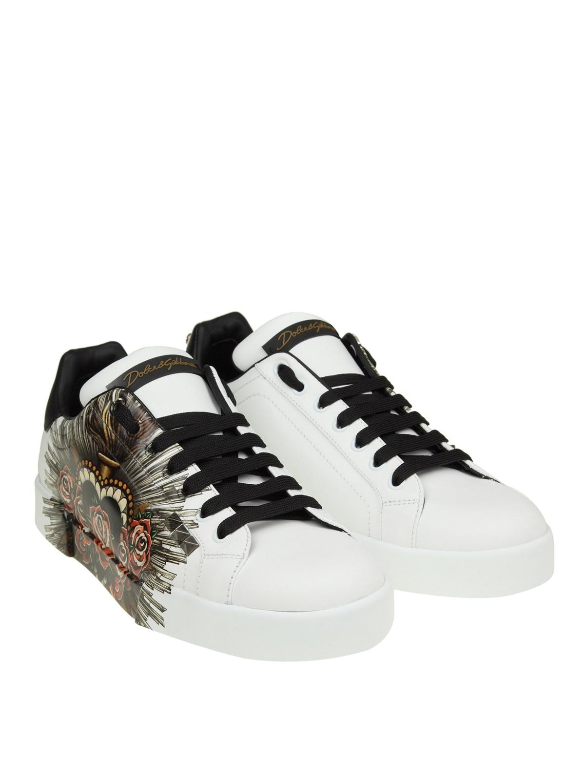 ecf54375ef5f DOLCE   GABBANA  trainers online - Portofino printed leather sneakers