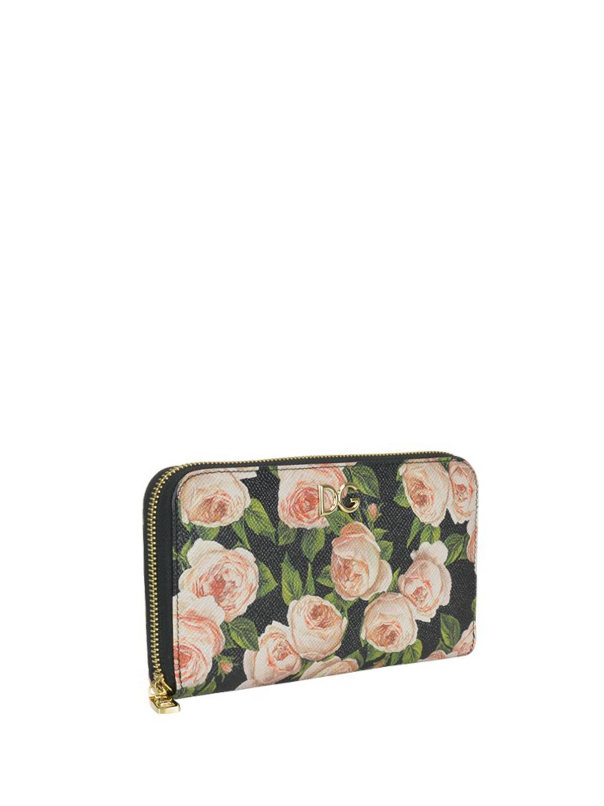 e2b2bda26d DOLCE & GABBANA: wallets & purses online - Rose print leather DG zip around  wallet