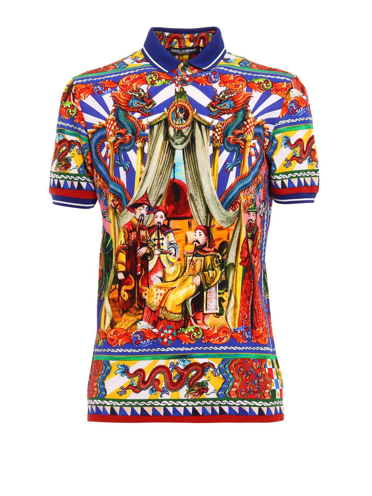 275da17a6b96 Dolce   Gabbana - Sicilian cart patterned polo shirt - polo shirts ...