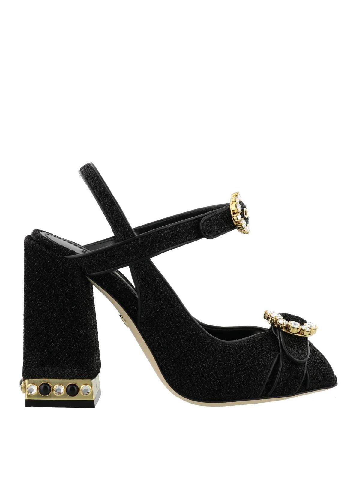 e18fe501f59c Dolce   Gabbana - Bette peep toe jewel lurex sandals - sandals ...