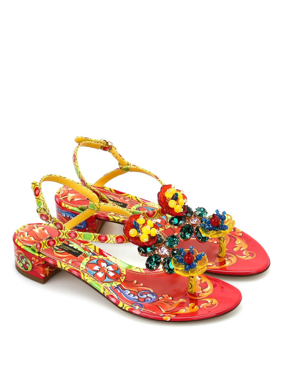 bb4f459fb Dolce   Gabbana - Leather sandals with rhinestones - sandals ...