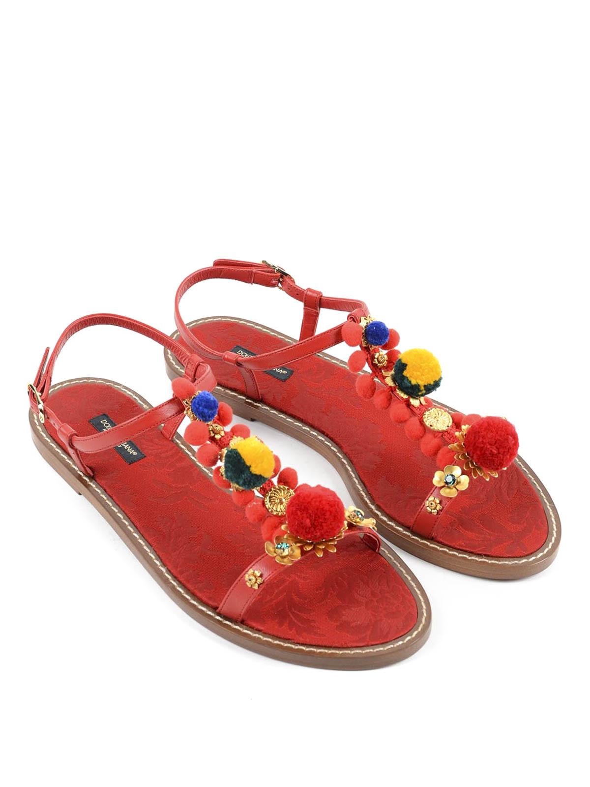 Dolceamp; Flat Pompon Sandals Sandales 8l270 Ad080 Gabbana Cq0079 thdBQsrCx