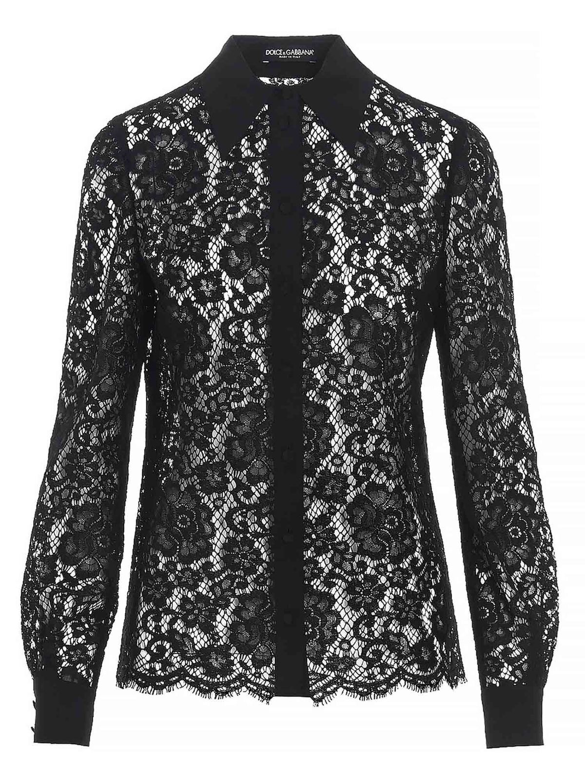 Dolce & Gabbana LACE SHIRT IN BLACK