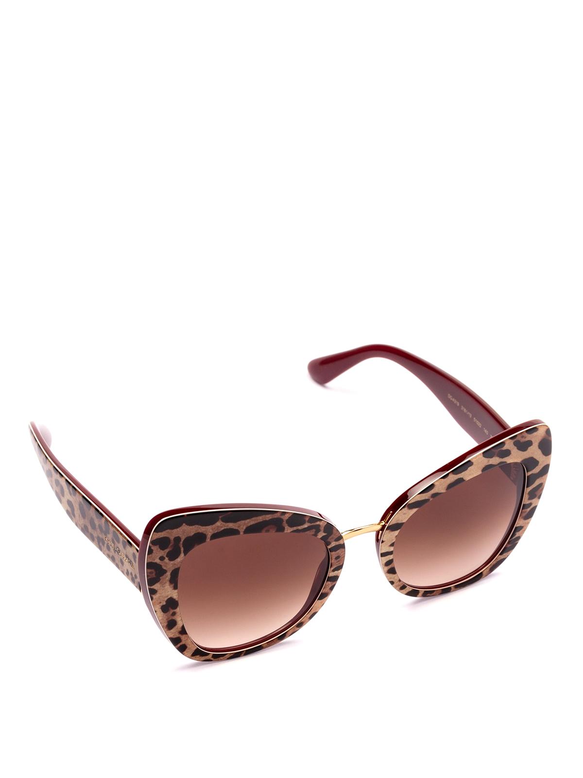 3f047c19b144 DOLCE & GABBANA: sunglasses - Animal print acetate cat eye sunglasses