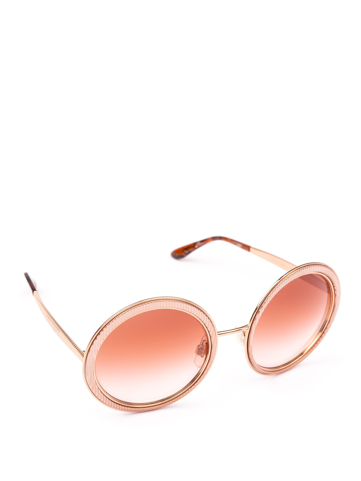 e9648dea3473 DOLCE & GABBANA: sunglasses - Engraved rose gold metal round sunglasses