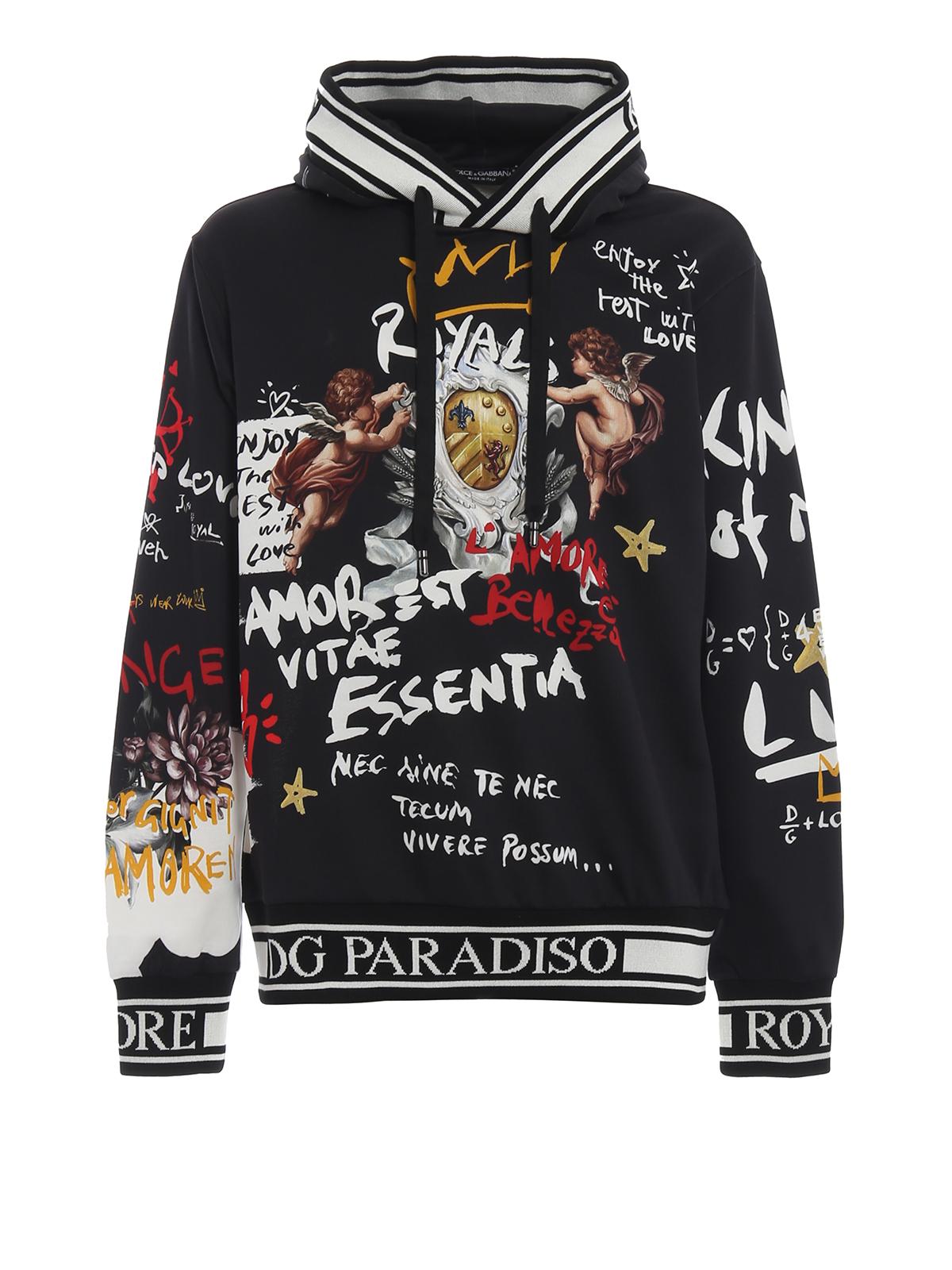Con Gabbana Cappuccio Putti Felpa Graffiti Stampa Dolceamp; E qSLUzGpMV