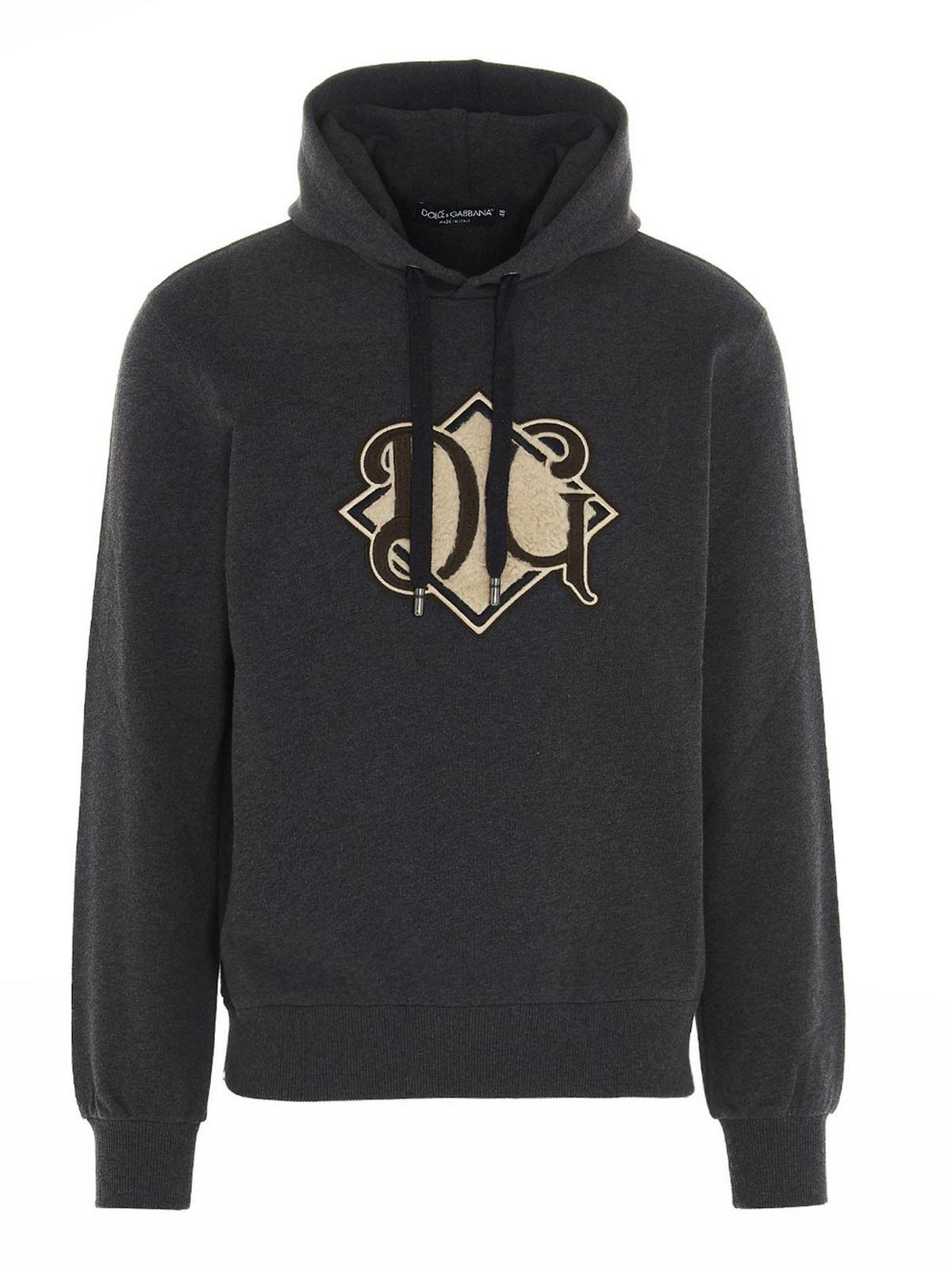 DOLCE & GABBANA LOGO PATCH HOODIE IN GREY