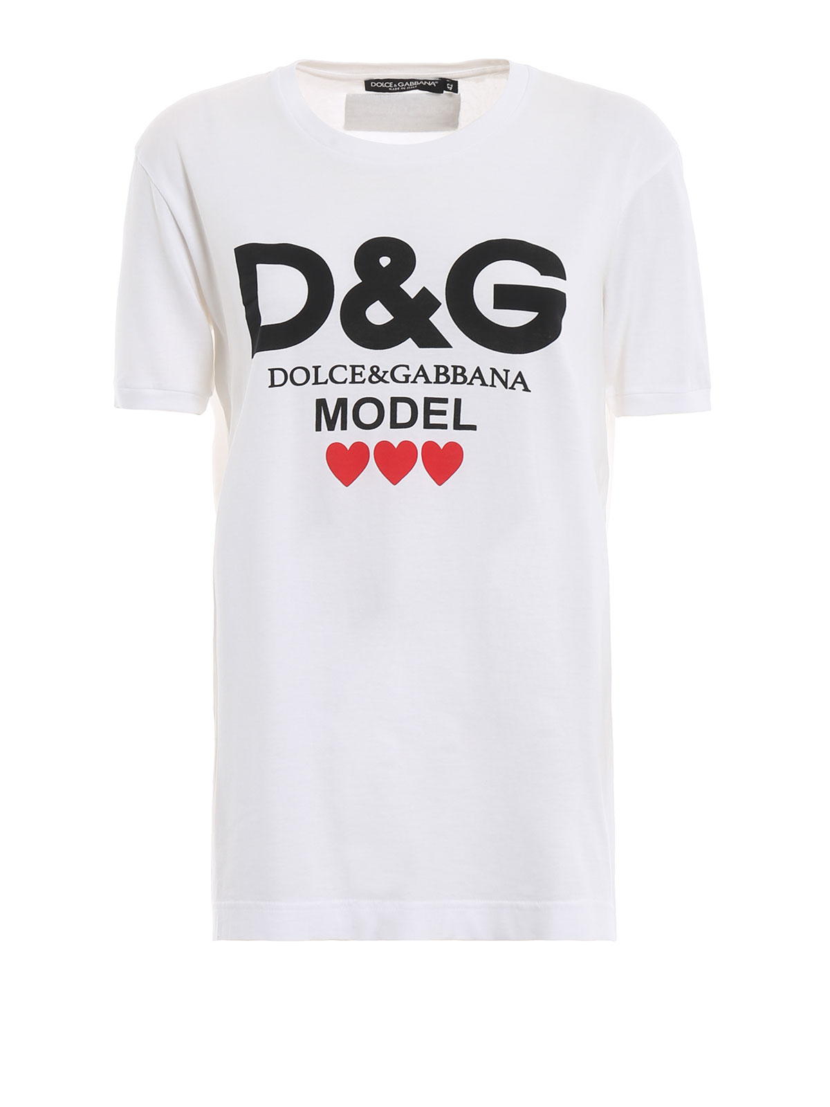 ec9f4e45126 Dolce   Gabbana - D G Model print white cotton T-shirt - t-shirts ...