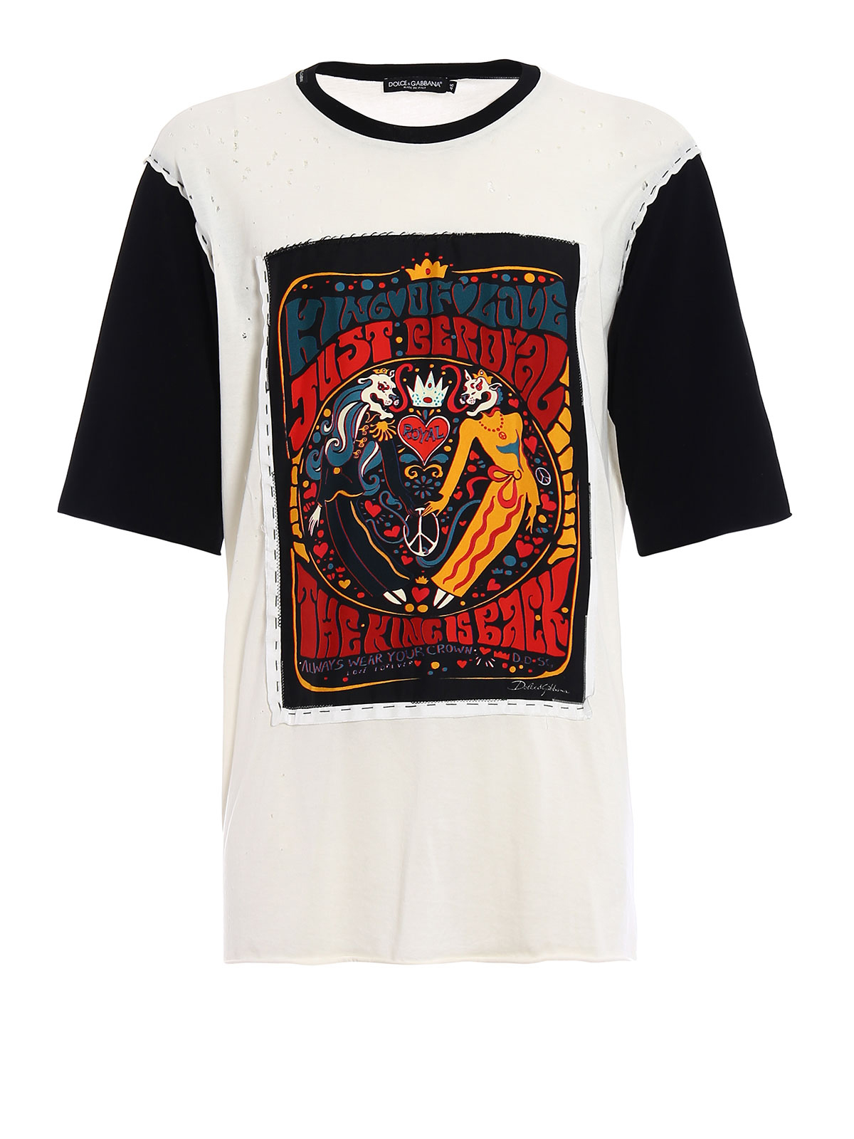 King of Love worn out cotton Tee by Dolce & Gabbana