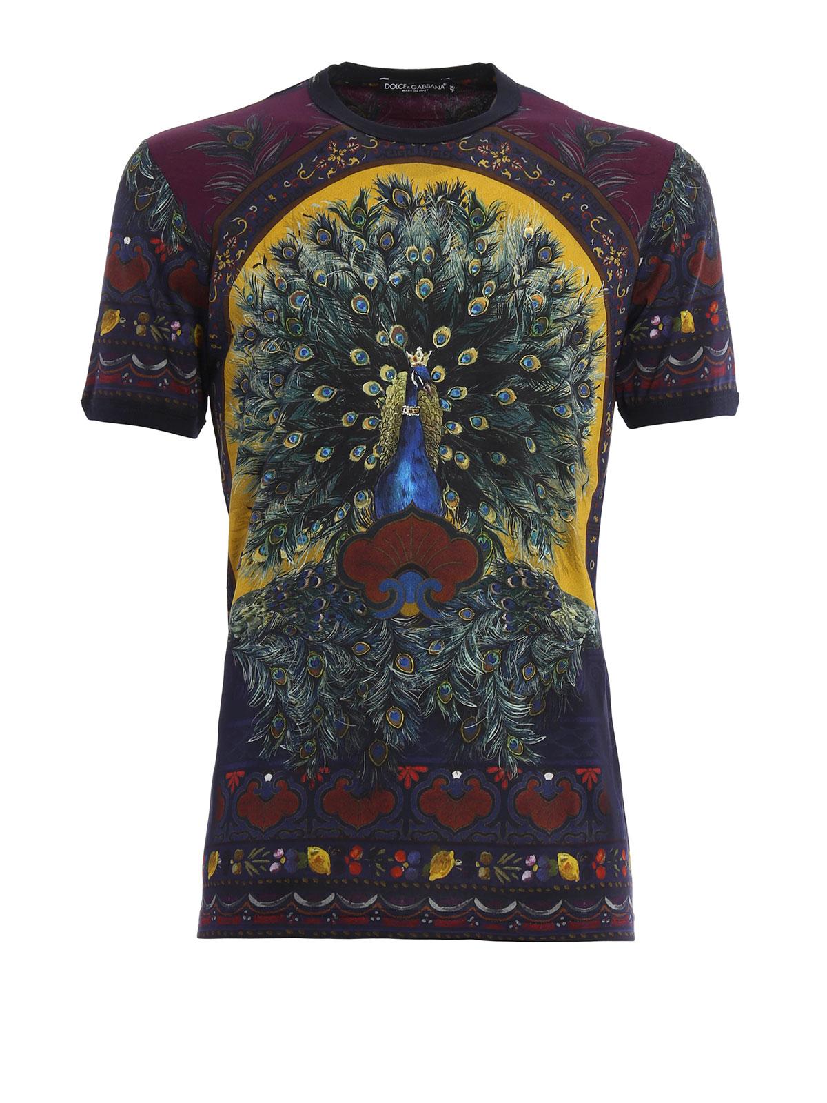 peacock print t shirt by dolce gabbana t shirts ikrix. Black Bedroom Furniture Sets. Home Design Ideas