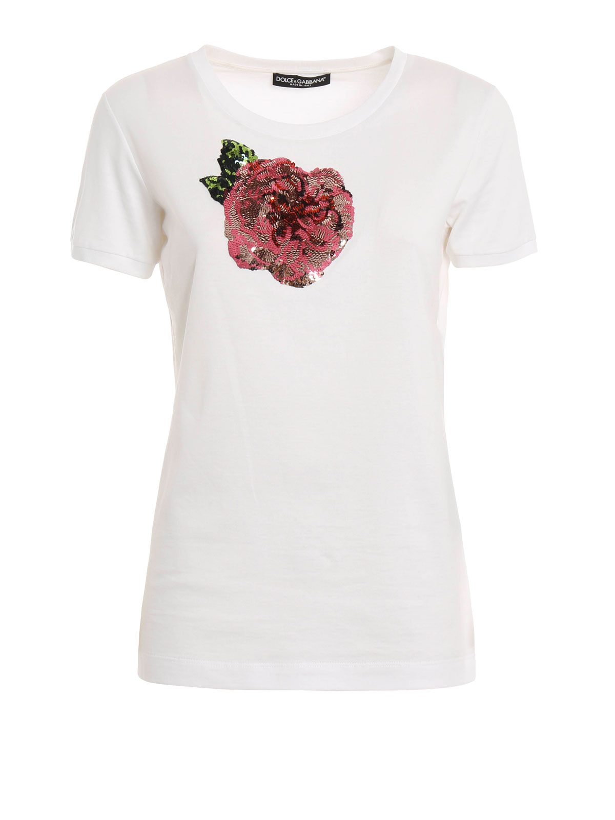 sequin rose embellished t shirt by dolce gabbana t