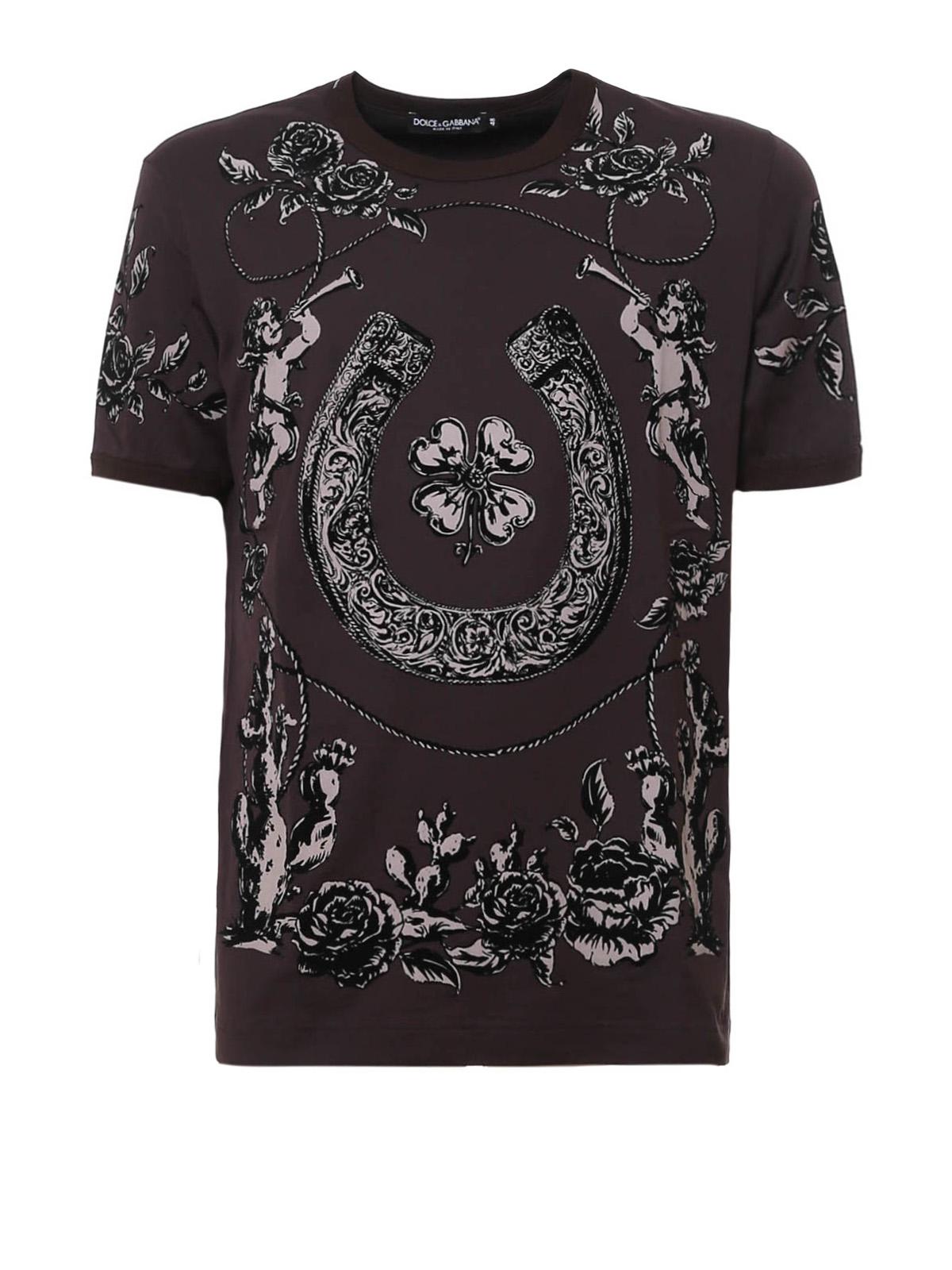 western print cotton t shirt by dolce gabbana t shirts. Black Bedroom Furniture Sets. Home Design Ideas