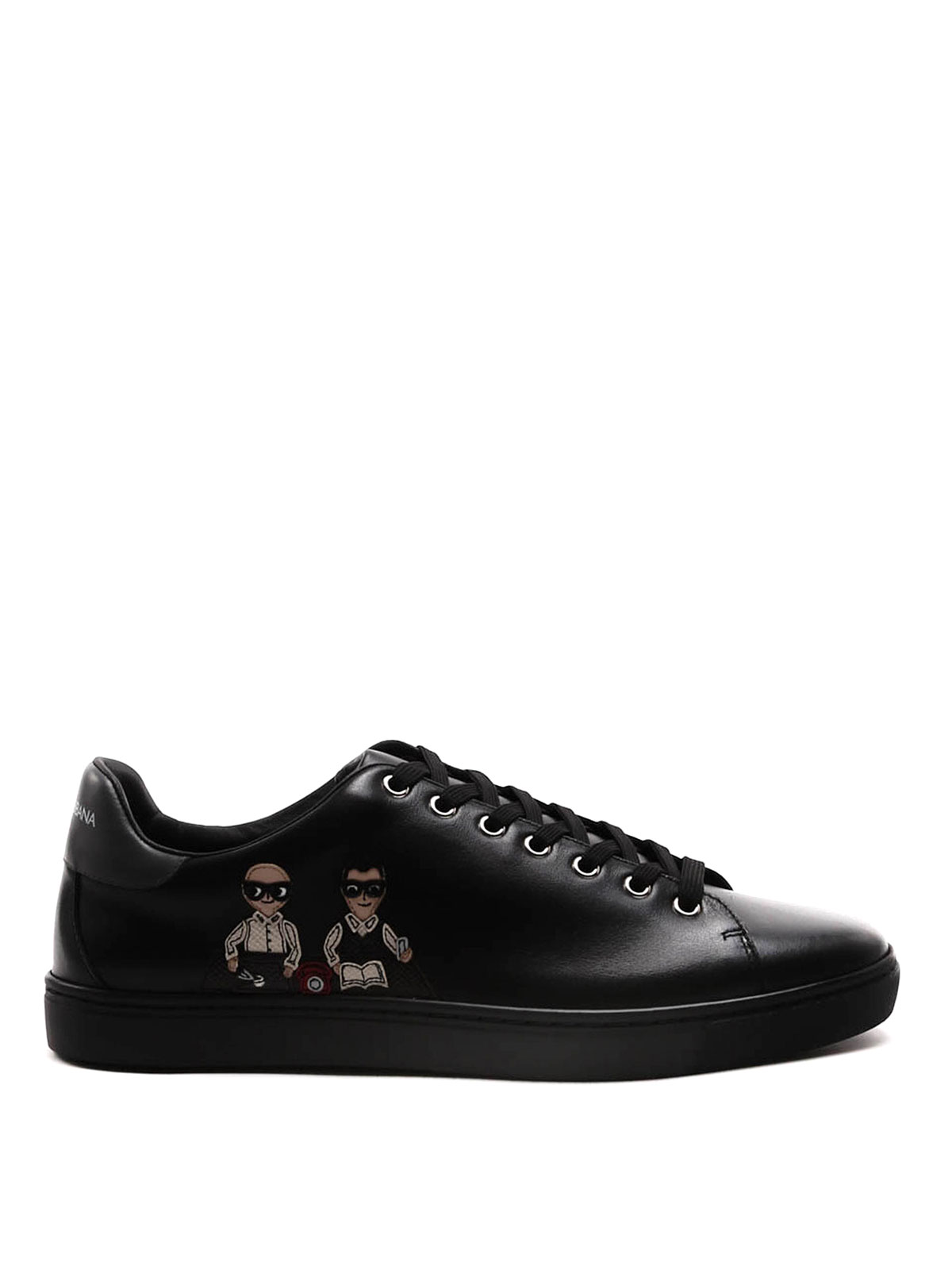 dg family patch leather sneakers by dolce gabbana. Black Bedroom Furniture Sets. Home Design Ideas