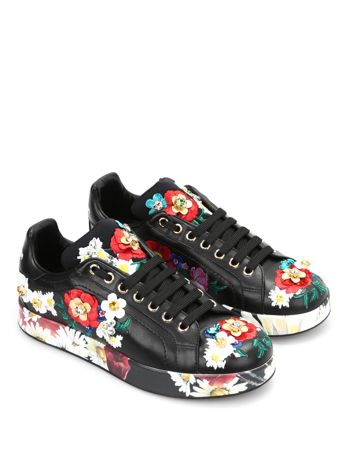 floral embroidered sneakers by dolce gabbana trainers. Black Bedroom Furniture Sets. Home Design Ideas