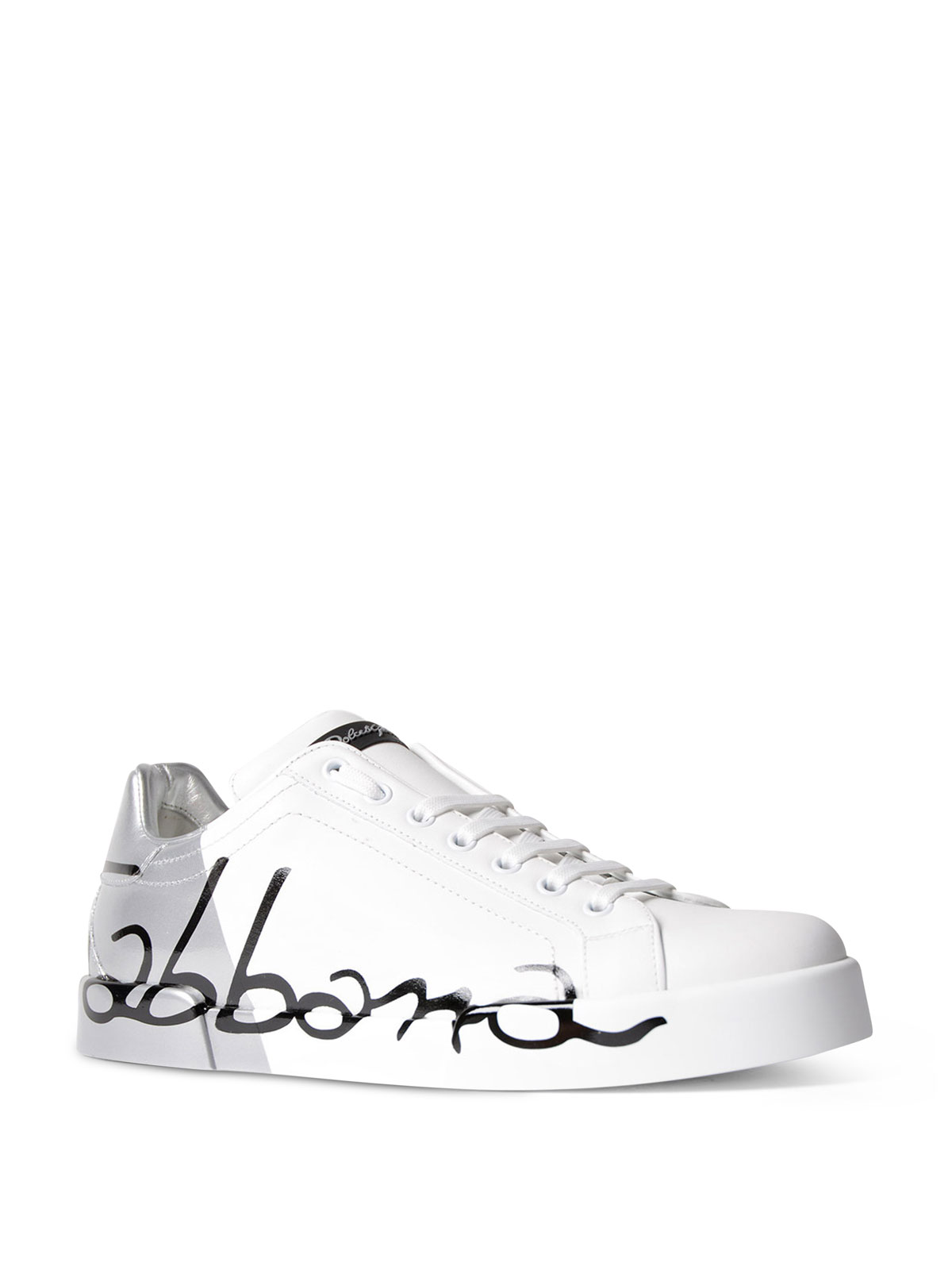 Free Shipping Websites Black and Silver Portofino Logo Sneakers Dolce & Gabbana Cheap Price In China Buy Cheap Low Price Buy Cheap 2018 8dy92y