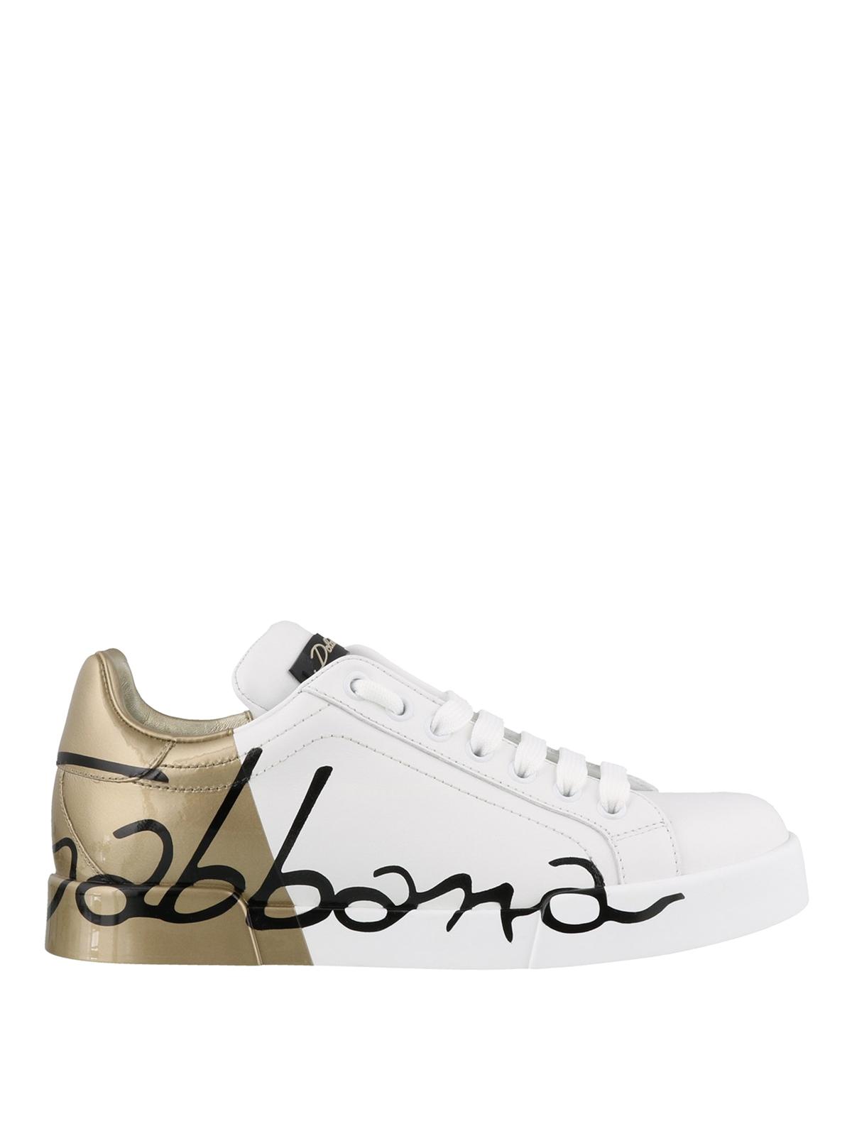 Dolce & Gabbana Sneaker Portofino bianche e oro sneakers