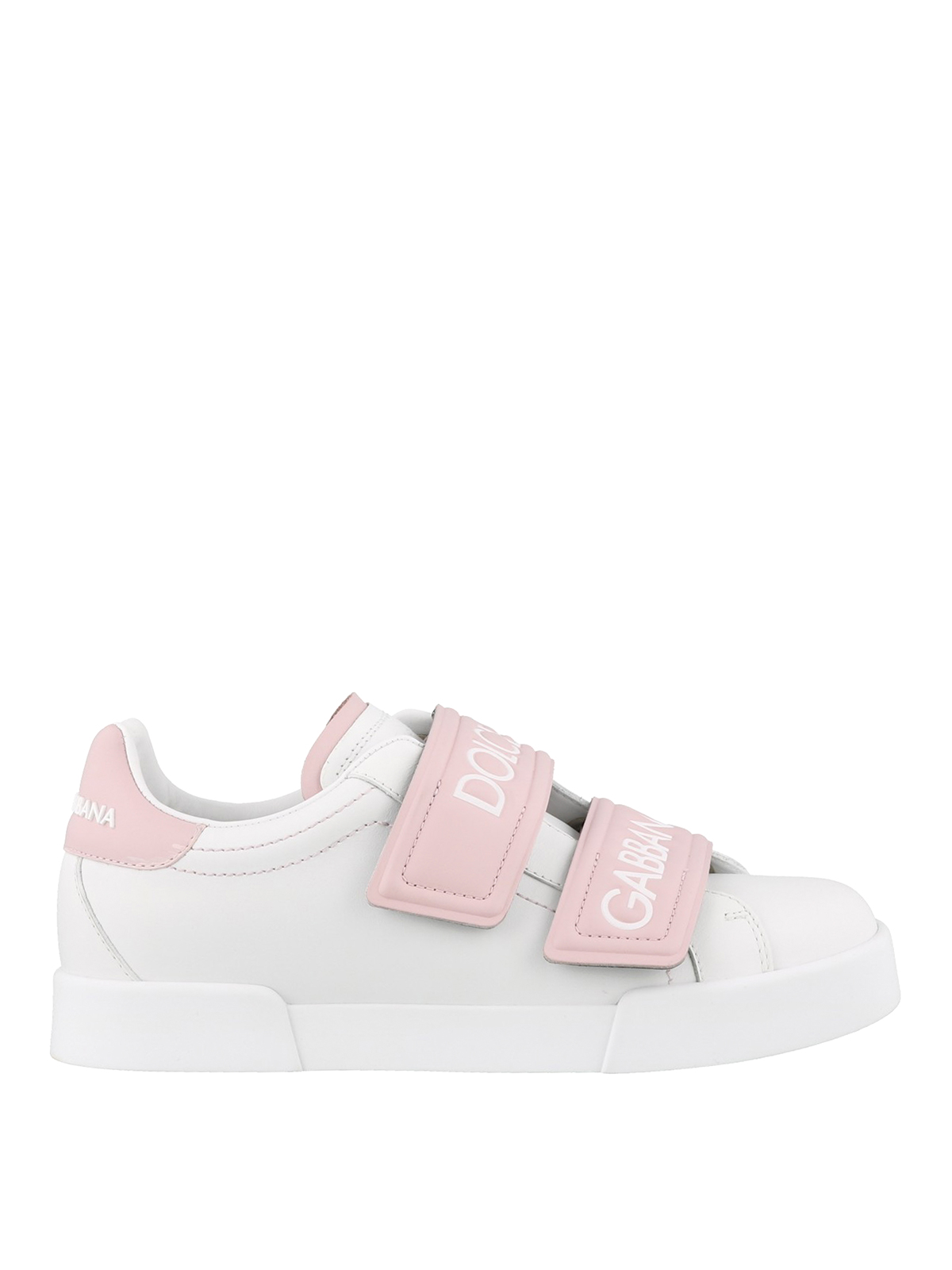 White and pink sneakers with velcro
