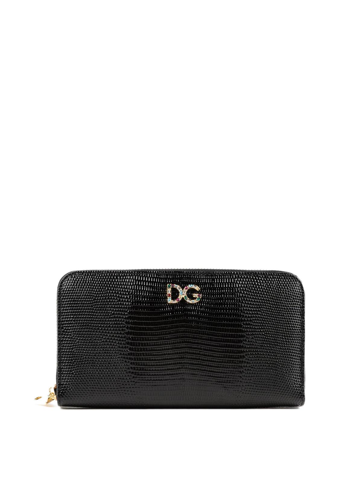 44f4307ebb DOLCE   GABBANA  wallets   purses - Jewel logo black iguana print leather  wallet