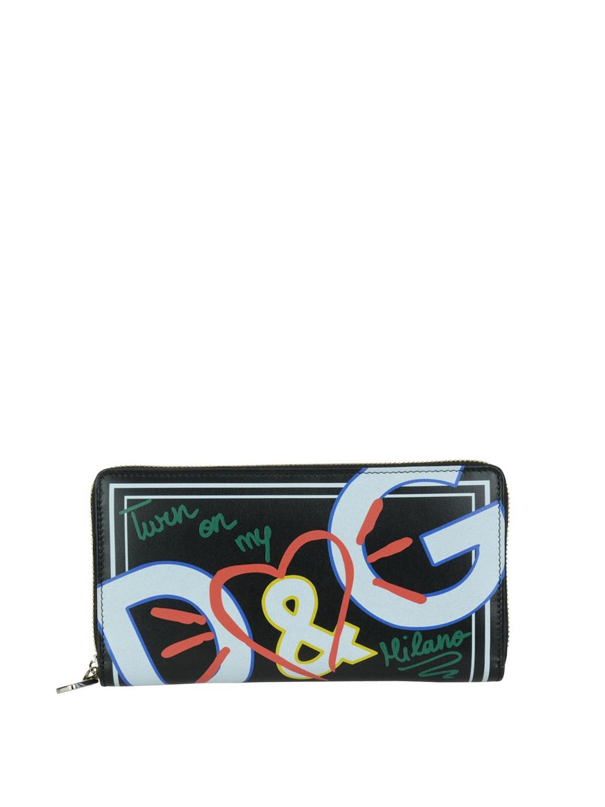 Black Graffiti Print Zip Around Wallet Dolce & Gabbana RHyQyUrLo