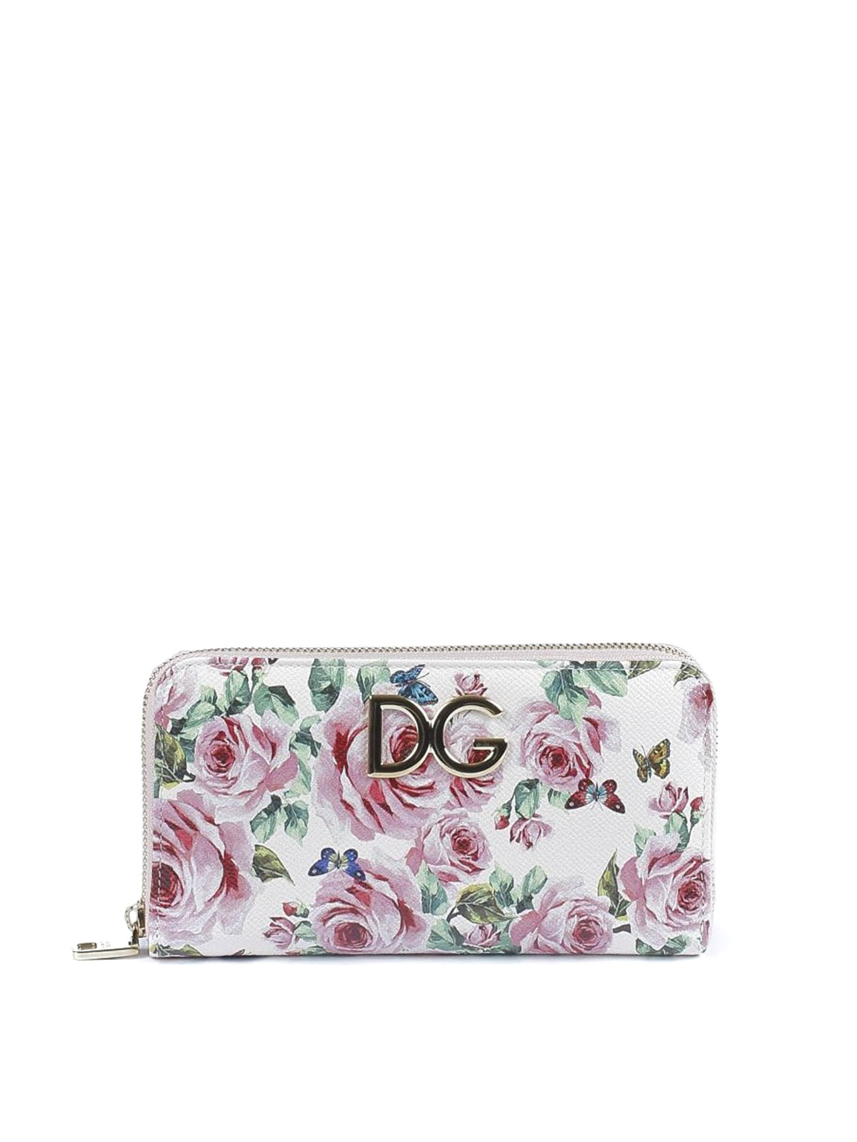 Dauphine leather wallet with roses print Dolce & Gabbana j0Modaln6