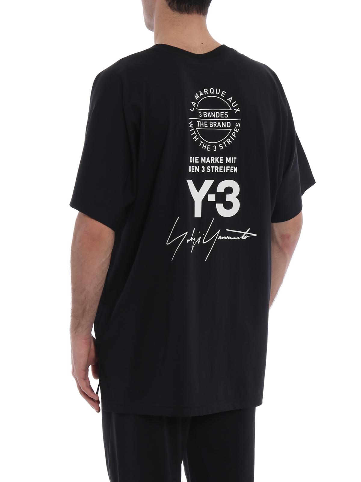 245a56b4 Adidas Y-3 - Dolman sleeve black cotton T-shirt - t-shirts - CY6969BLACK