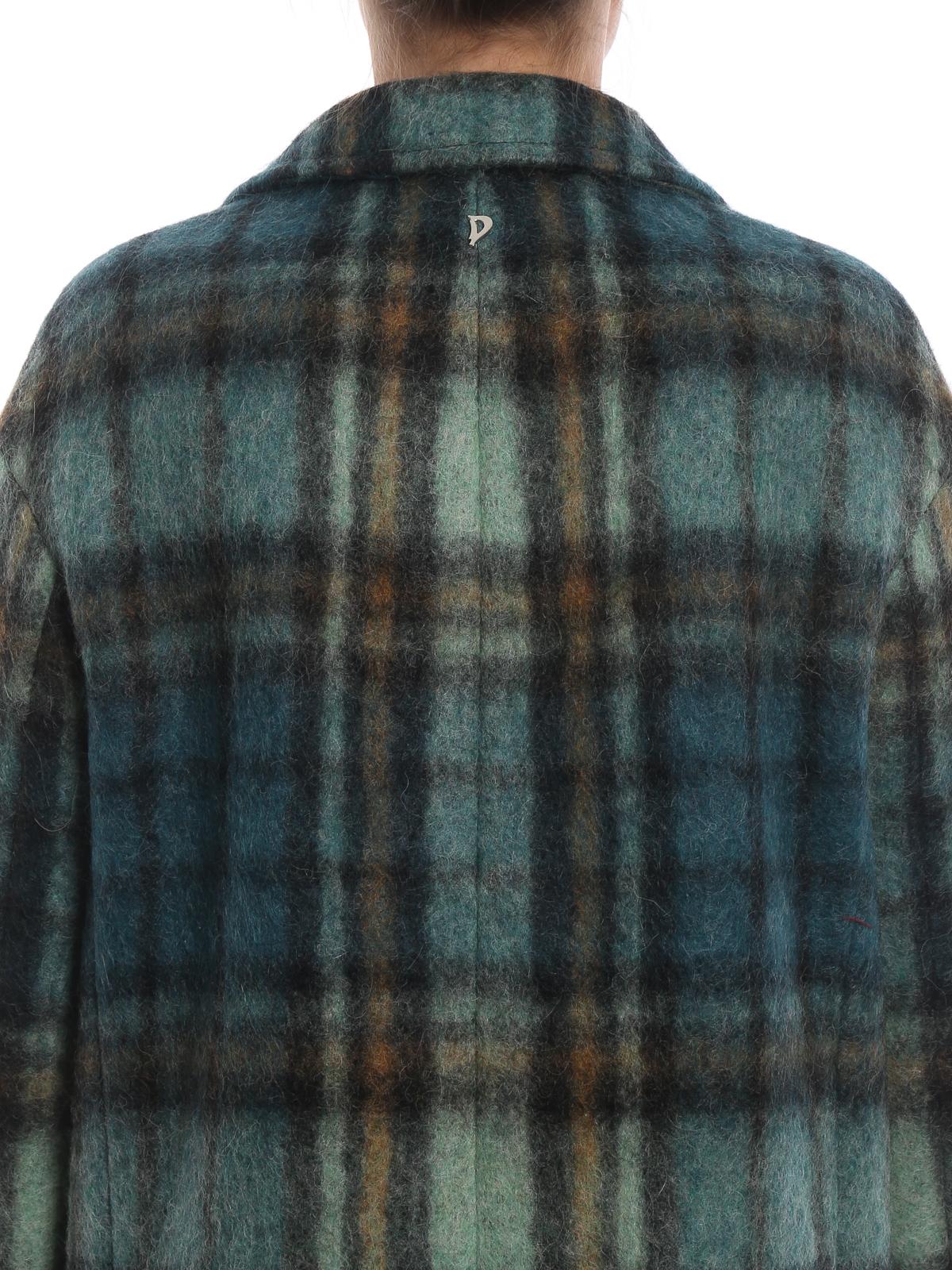 7f042df4f7ff Dondup - Cappotto in morbido scozzese verde acqua - cappotti al ...