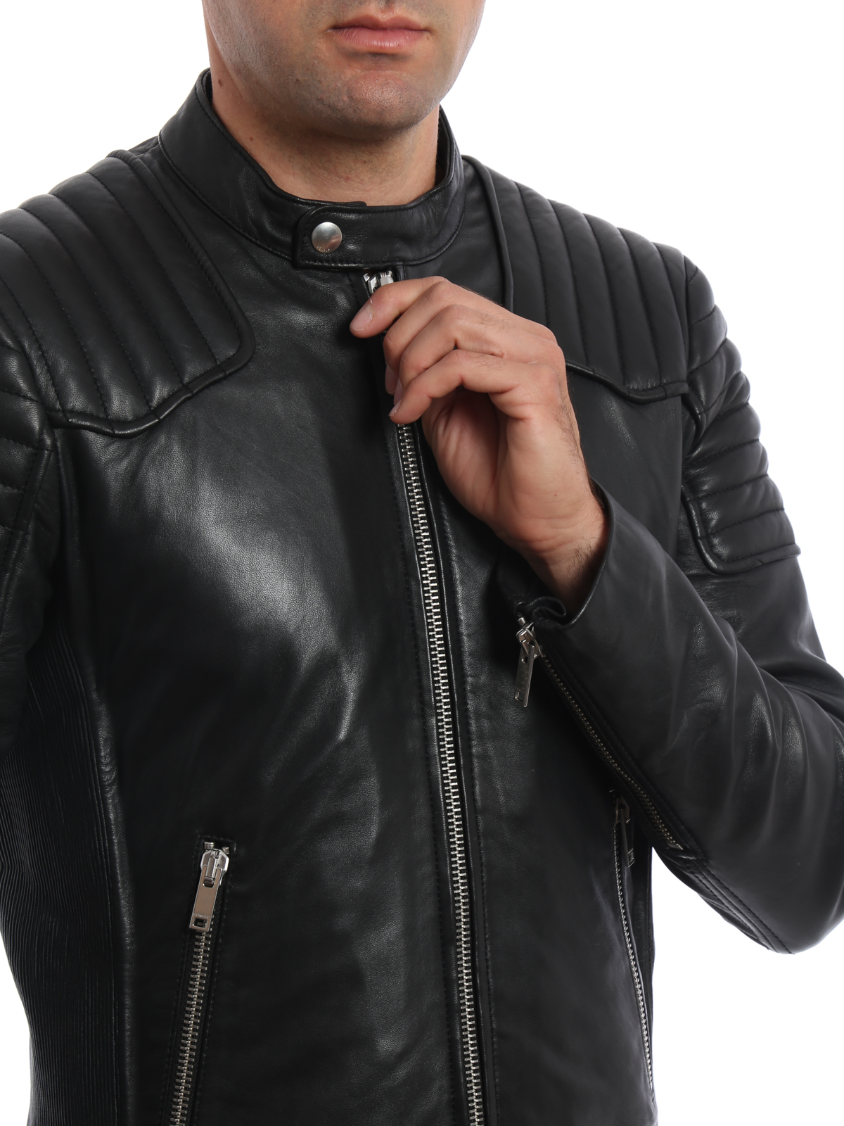 timeless design 599f7 41051 Dondup - Giacca Biker in pelle - giacche in pelle ...